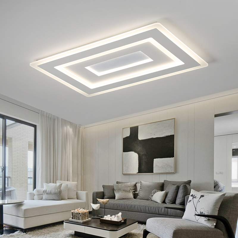 Surface Mounted Modern Led chandelier Lights for living room bedroom Ultra thin lamparas de techo Rectangle chandelier fixtures|Chandeliers| |  - title=