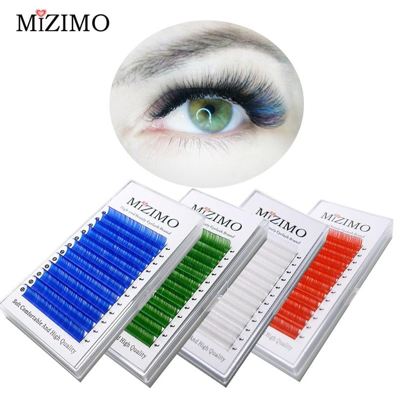 Kostenloser versand farbe wimpern 0,07/0.1mm8-17 mmwhite blau grün lila Rosa Rot Natürliche Weiche Persönlichkeit Wimpern Verlän