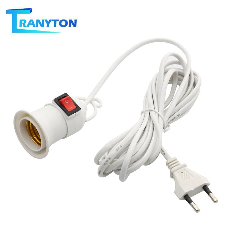 E27 Lamp Bases With 4M 8M Power Cord To EU Plug Holder Adapter Converter ON/OFF For Bulb Lamp