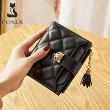 FOXER Split Leather Short Wallet Women High Quality Mini Coin Purse Female