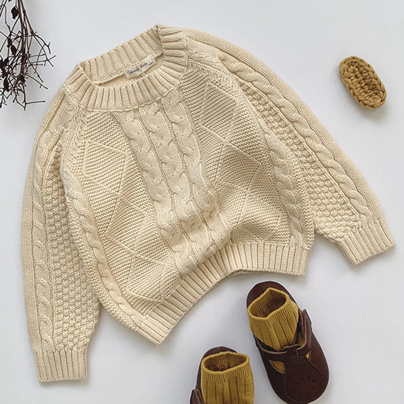 Autumn Kids Knitting Coat Baby Girls Boys Pullover Sweaters Baby Girls Boys Winter Solid Color Long Sleeves Knitting Clothes 3