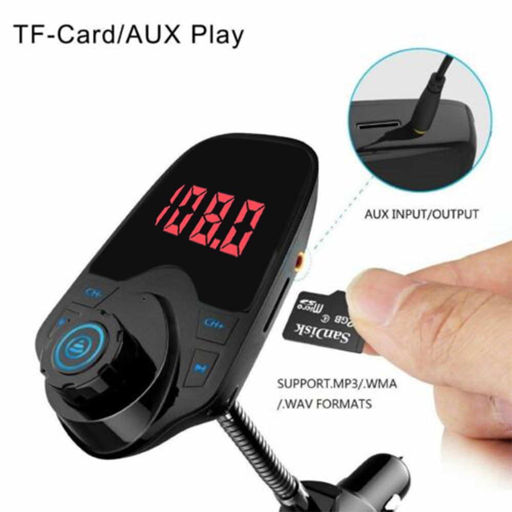 DC <font><b>12</b></font>-24V Car FM Transmitter Handsfree Calling Noise Handling CVC <font><b>WMA</b></font> <font><b>MP3</b></font> Player TF Card Voltage Detection Automatically Connect image