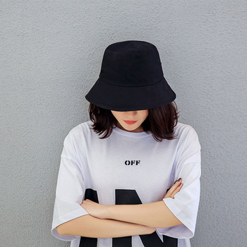 Black White Solid Bucket Hat Unisex Bob Caps Summer Panama Beach Sun Fishing Boonie Hip Hop Gorros Men Women Flat Casual image