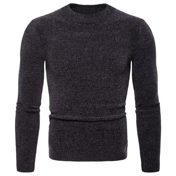 Round-necked Knitted Men Sweater Self-cultivating Pure Color Pullover Cuff Compactness Sweater Cotton Material Bottoming Sweater