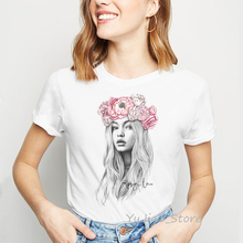 Beautiful sketch girl print vintage t shirt women streetwear 90s tumblr clothes women's summer clothing 2019 top female t-shirt