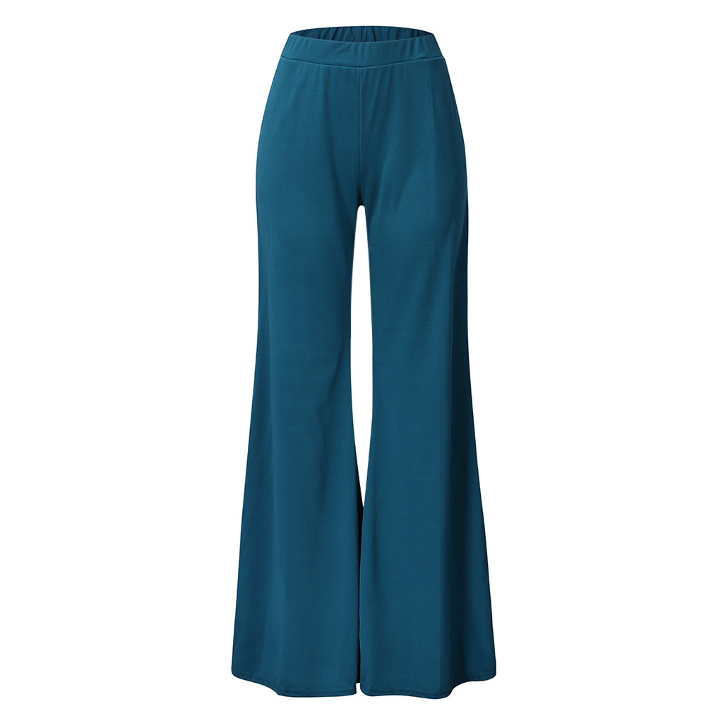 Women's High Waist Fashion Solid Loose Wide Long Trousers Flowing Palazzo Pants Loose Straight Pants 2019 Pants For Women