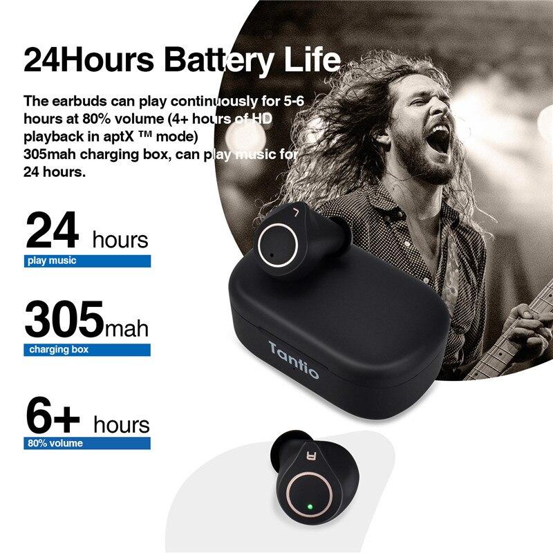 Image 5 - Tantio TWS W1 aptx Bluetooth Headphones with Qualcomm Chipset  Touch Control Totally High Performance Wireless EarphonesBluetooth  Earphones