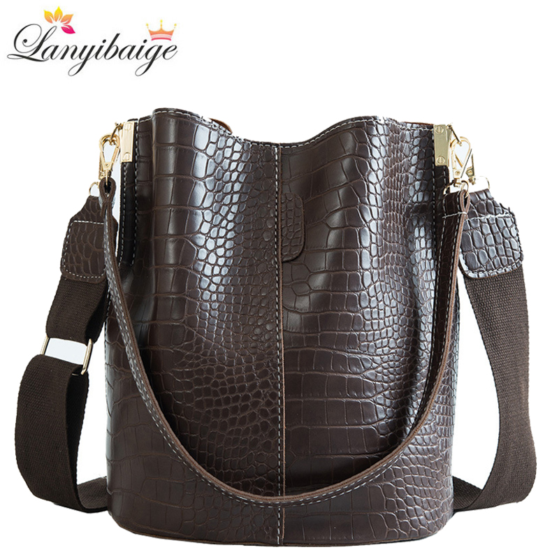 Crocodile Crossbody Bags For Women 2019 Hot Shoulder Bag Luxury Handbags Women Bags Designer PU Leather Bucket Bag Mochila