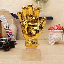 Football Match Soccer Fans Souvenir GOLD gloves Trophy Creative Crafts Gold Plating Home Furnishing Articles decoration model