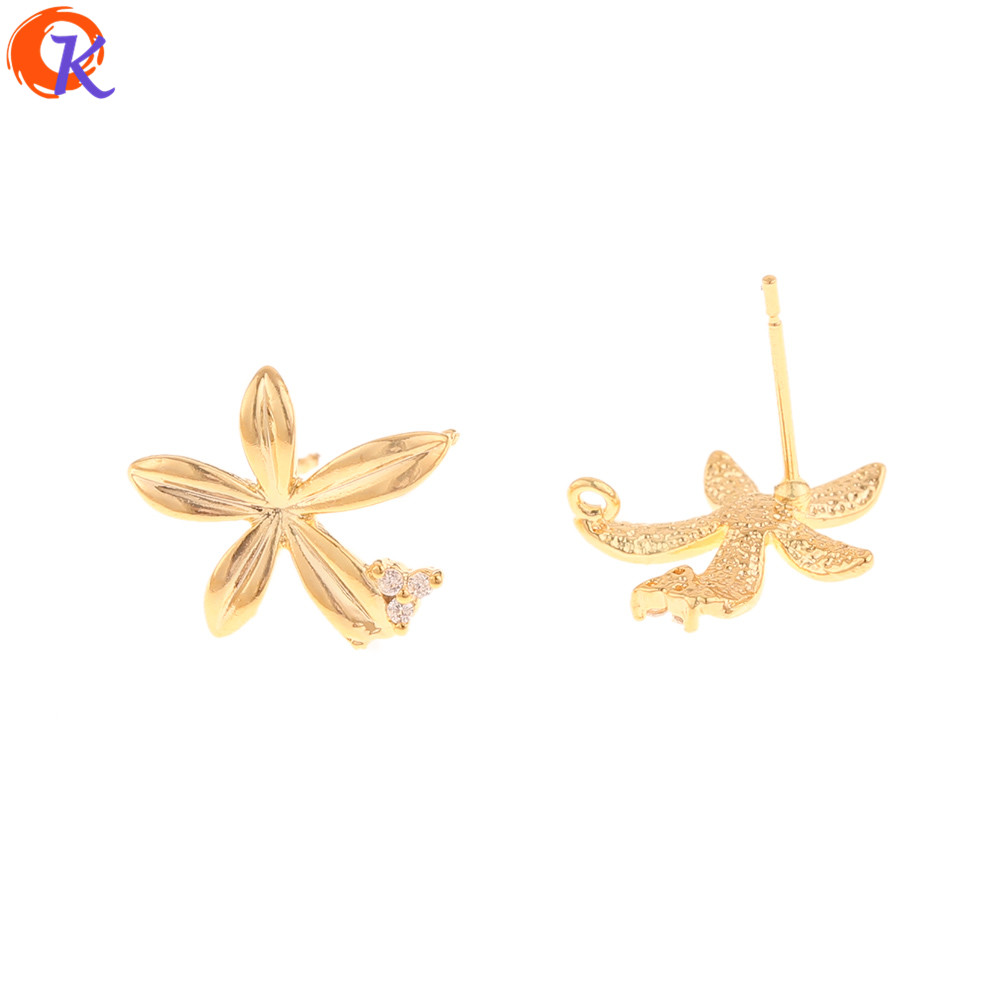 Cordial Design 30Pcs 14*14MM Jewelry Accessories/Hand Made/DIY Jewelry Making/Genuine Gold Plating/Flower Shape/CZ Earrings Stud