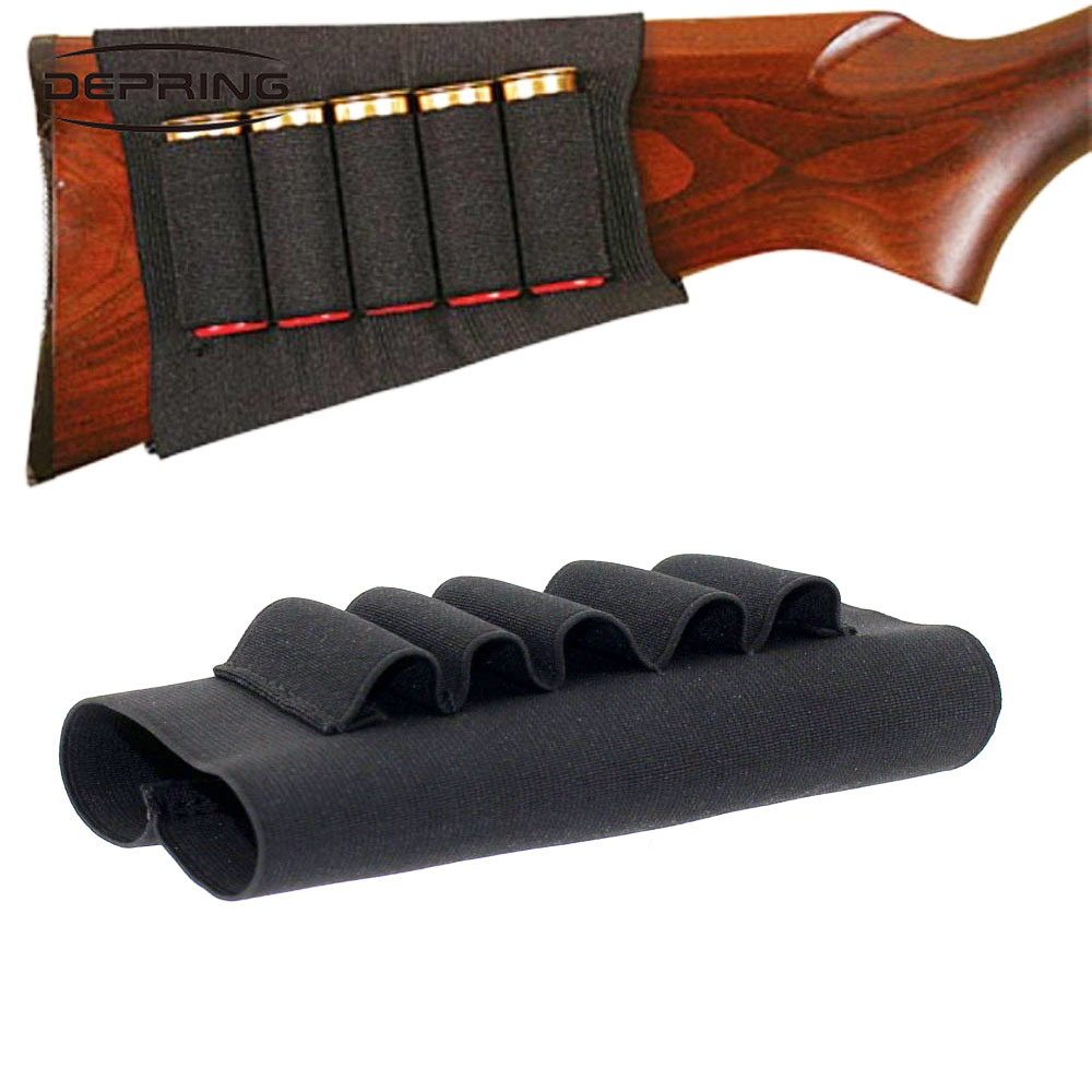 Tactical Shotgun Rifle 5 Shells Buttstock 12 20 Gauge Cartridge Holder Elastic Airsoft Military Ammo Cartridge Magazine Pouch image