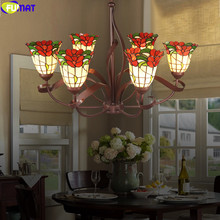 FUMAT Tiffany Pendant Lamp Stained Glass Hanging Light Fixture Rose Flower Green Leaf Ceiling Lighting Decorative Classical Art(China)