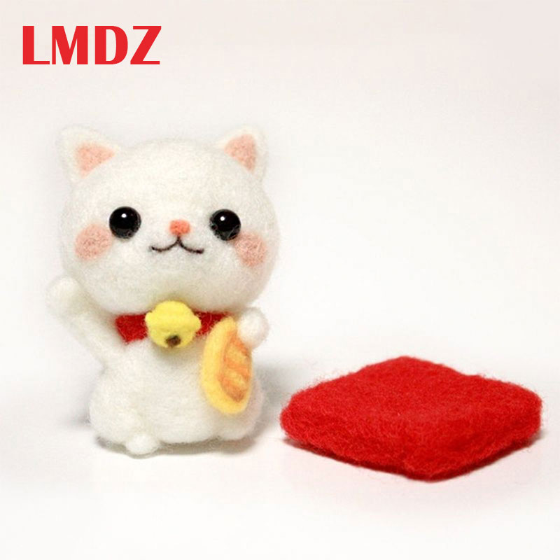 LMDZ 1Pcs Lovely Luck Fortune Cat Wool Needle Felt Toy Doll Wool Felting Poked Kit DIY Handcarft Decoration Package Non-Finished
