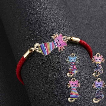wholesale Lovely Animal Enamel Cat Charm Bracelet for Women Kids Best Wishes Handmade Bracelets Red String Jewelry Random patte image