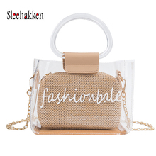 Woman shoulder bag handbag Hand-woven circular handle Bohemian summer straw beach transparent diagonal Tote