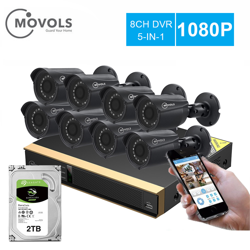 Movols 8CH 8pcs 1080p câmera de Vigilância de Segurança CCTV Sistema de câmera DVR kIt Sistema de Vigilância de Vídeo à prova d' água Ao Ar Livre para casa