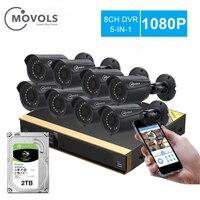 Movols 8CH CCTV camera System 8pcs 1080p Security Surveillance camera DVR kIt waterproof Outdoor home Video Surveillance System