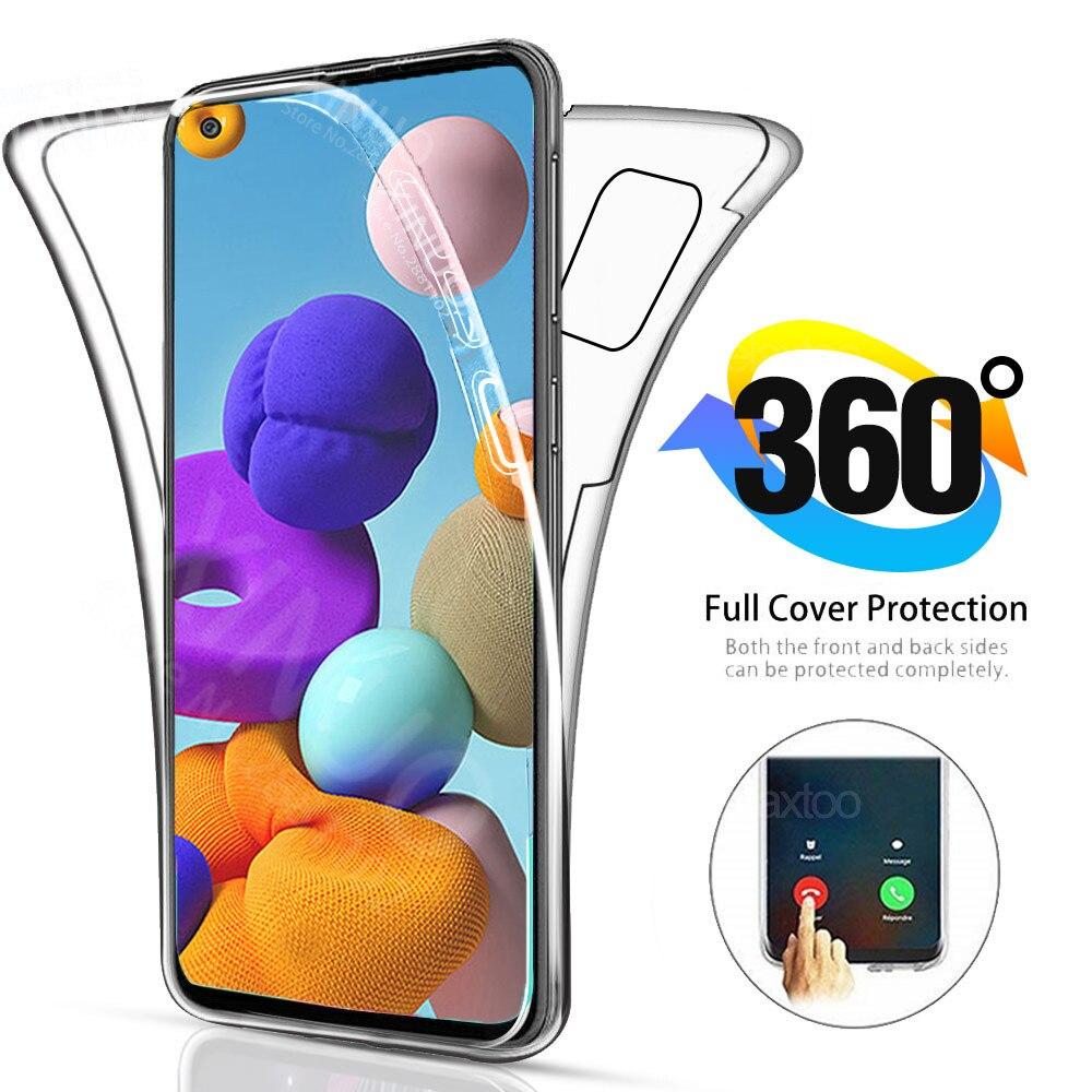 Чехол для Samsung A21S 360 полностью двойной силиконовый чехол для Samsung Galaxy A21S A 21 S 21 S прозрачный корпус Передняя Задняя крышка чехол