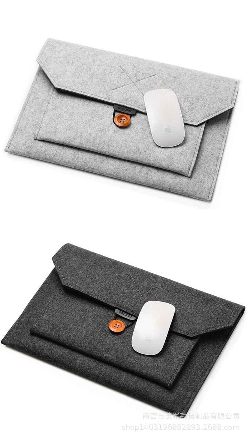11 12 13 15 Fashion Wol Merasa Laptop Lengan Tas Notebook Tas Case untuk Macbook Udara Pro Retina Lenovo Asus HP Laptop Tas Kapal