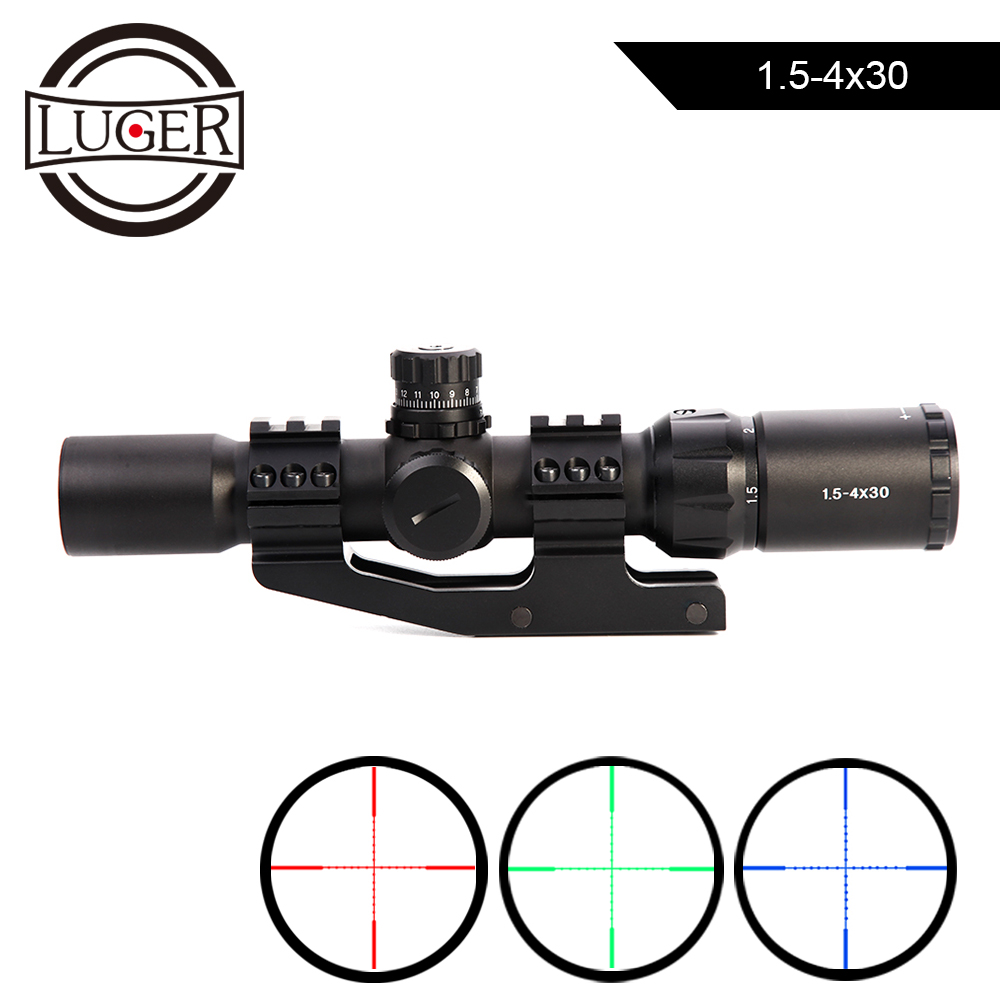 Tactical Optical Sight Rifle Scope 1.5-4X30 Red Green Blue Tri-illuminated Mil-dot Reticle Scope For Air Guns Hunting Riflescope