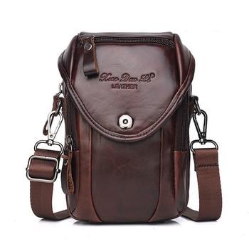 Genuine Leather Multi-function 7' Mobile Phone Pouch Bag Men Hip Bum Waist Belt Pack Mini Crossbody Shoulder Bags