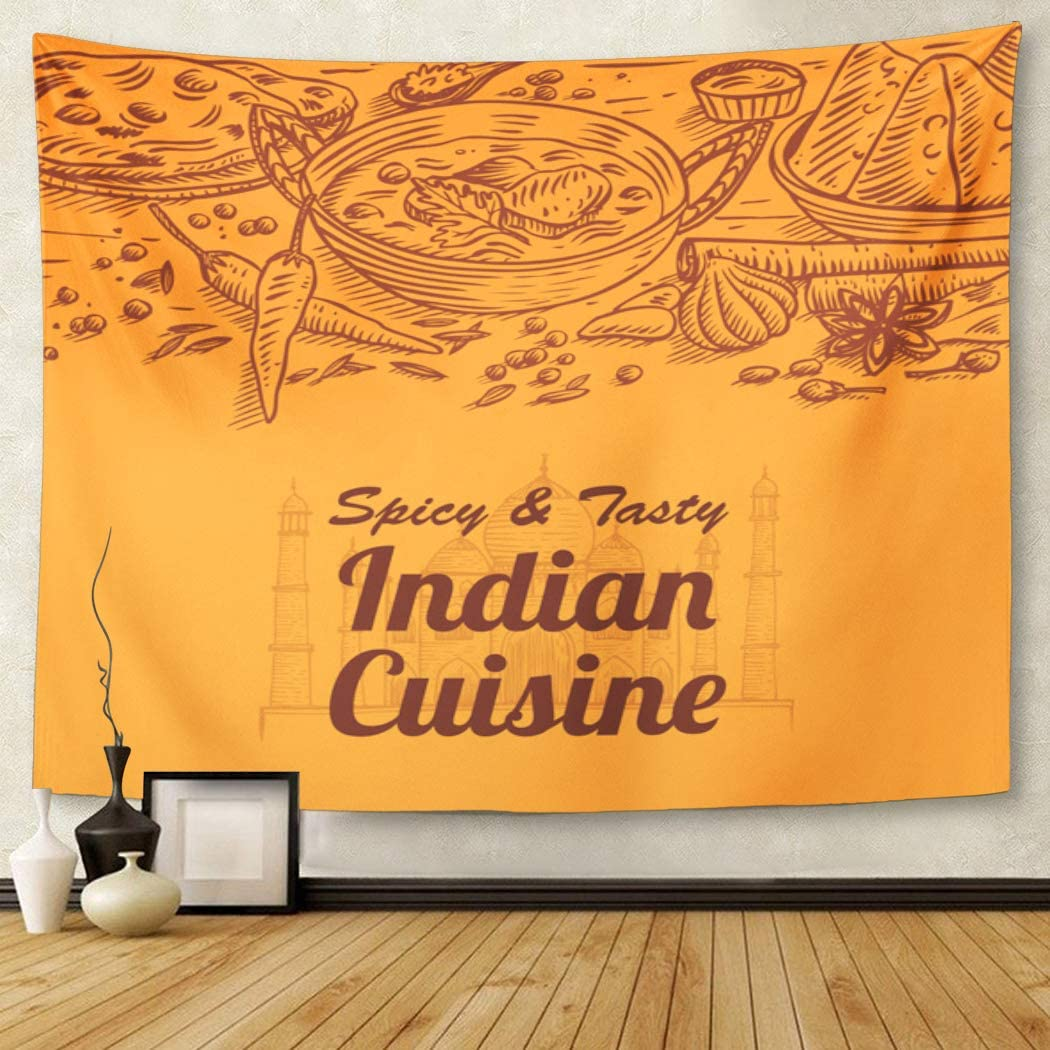 Cuisine of Indian Food and Spices South Curry Masala Tapestry Wall Hanging for Living Room Bedroom Dorm 50x60 inches image