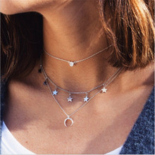 Free Shippping Three-layer Chain Initial Crystal Tassel Pendant Choker Necklace Women Simple Star Sequins Horn Necklace