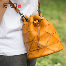 AETOO Single shoulder oblique span small bag, stylish retro handmade cowhide handbag, leather drawstring bucket bag