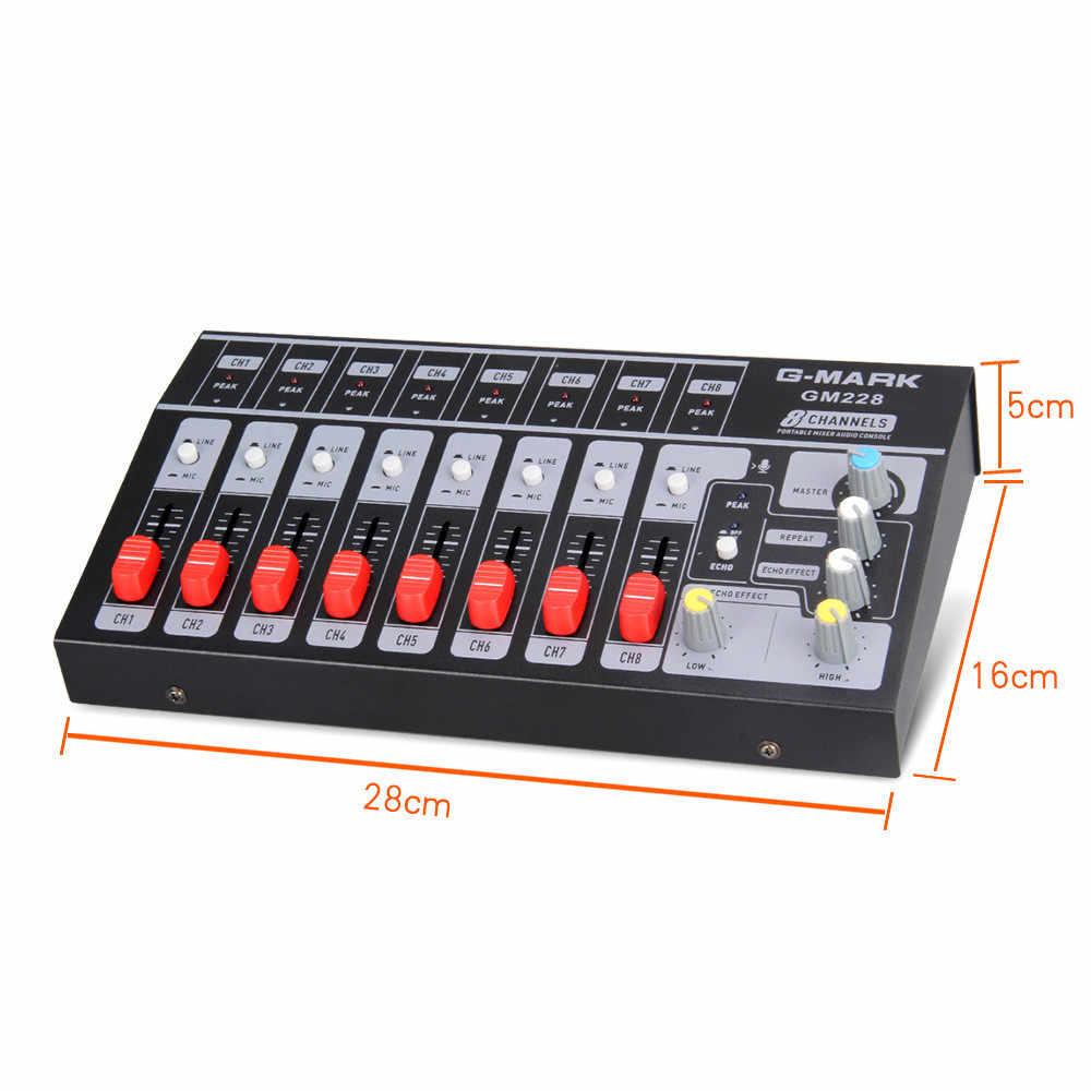 Profesional 8 canales Audio estéreo sonido mezclador consola Karaoke Digital DJ mezclador con USB para micrófono fiesta Reunión de ordenador