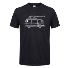 Casual Car T Shirts Save The Environment Take a Bus Crew Neck Short Sleeve T-Shirt Funny 5XL Price Mens Humorous Tees Design