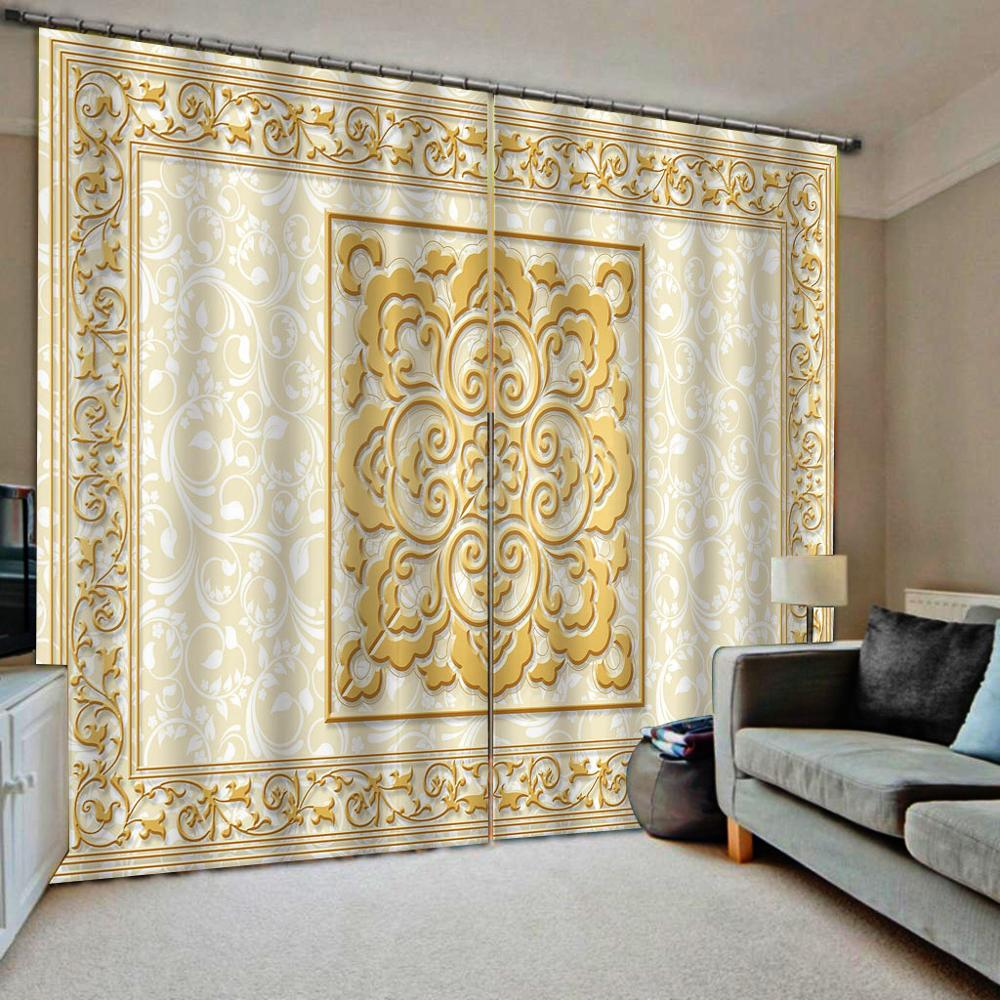 Beige Curtains 3D Curtain Luxury Blackout Window Curtain Living Room Marble Blackout Curtain