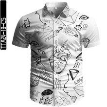 2021 Summer Men Shirt Button Up Fine Plain Cloth Blended Fiber 3D Print Cartoon Urban Style Unisex Vintage Blouse European Size