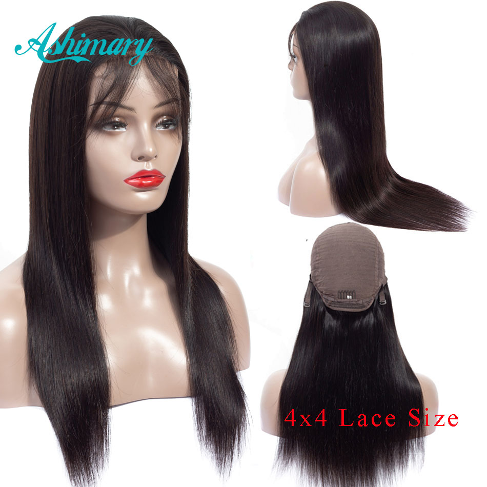 Ashimary 4x4  Lace Closure Wigs Remy Peruvian Human Hair Wigs Straight Lace Wigs For Black Women Pre Plucked With Baby Hair