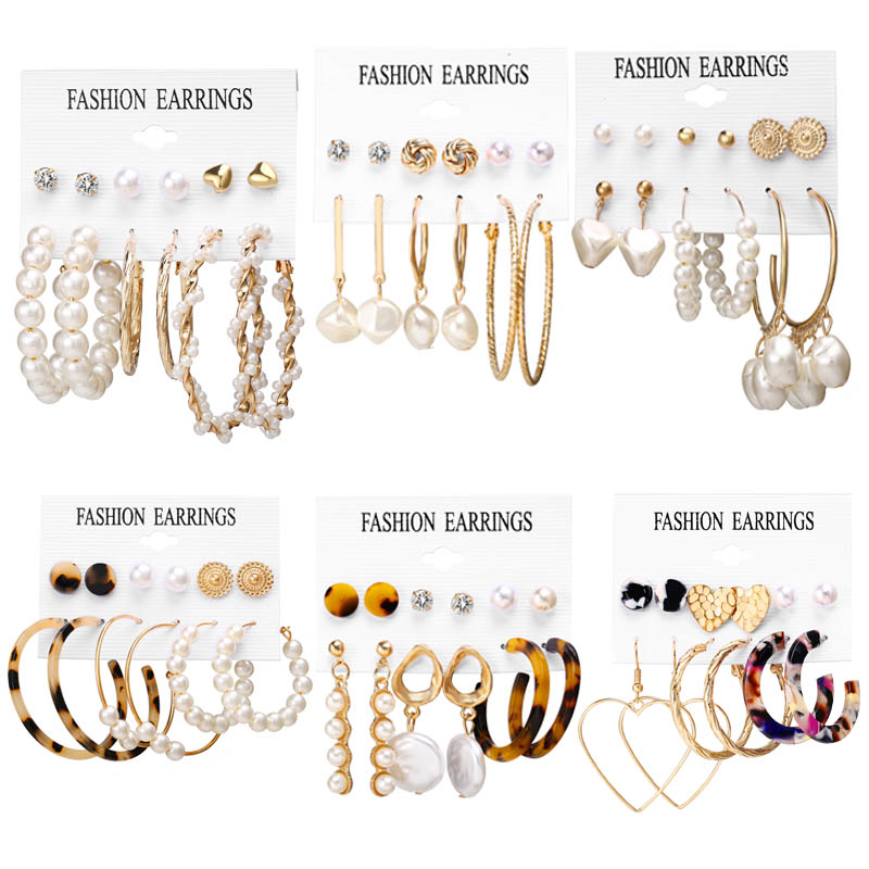 IF YOU Fashion Pearl Acrylic Crystal Metal Mixed Stud Earrings Set For Women Girl Round Vintage Earrings  Jewelry Gift 2019 New