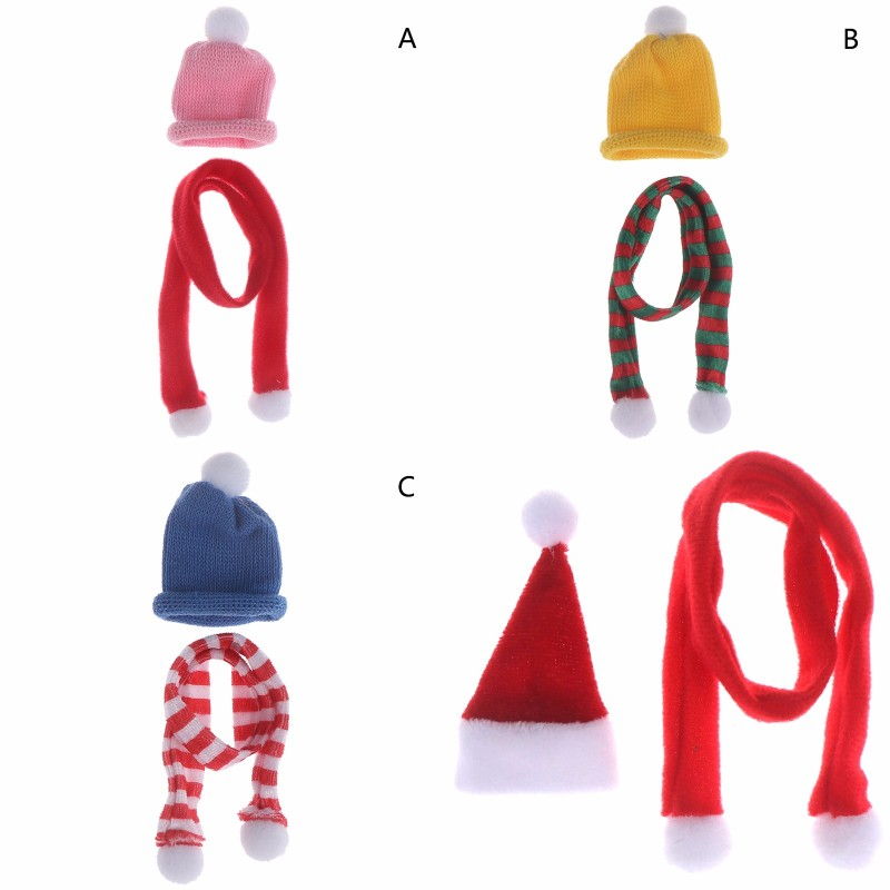1/12 Dollhouse Miniature Accessories Christmas Hat Scarf For Dollhouse Decoration Furniture Toys