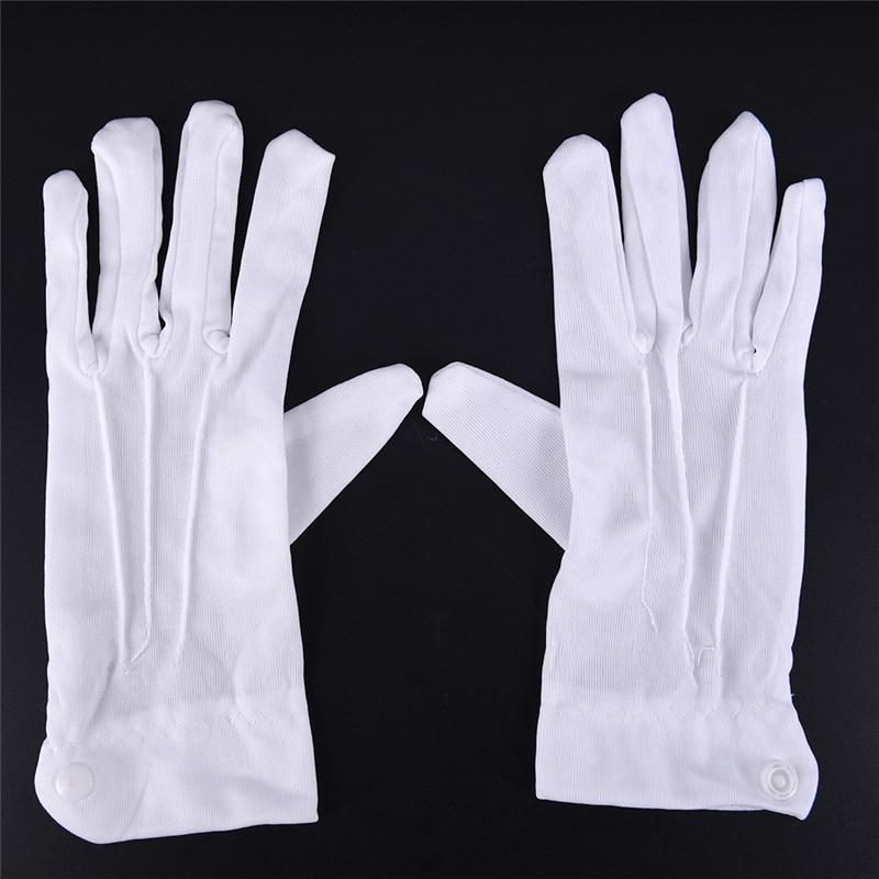 1Pair White Cotton Work Gloves Women Men Inspection Five-fingers Work Gloves Uniform Catering Uniforms