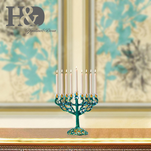 Image 5 - H & D handgeschilderde Chanoeka Menorah Joodse Lamp 9 Tak Jeruzalem Tempel Joodse Kaarshouder Chanukah Kandelaars Decoratie