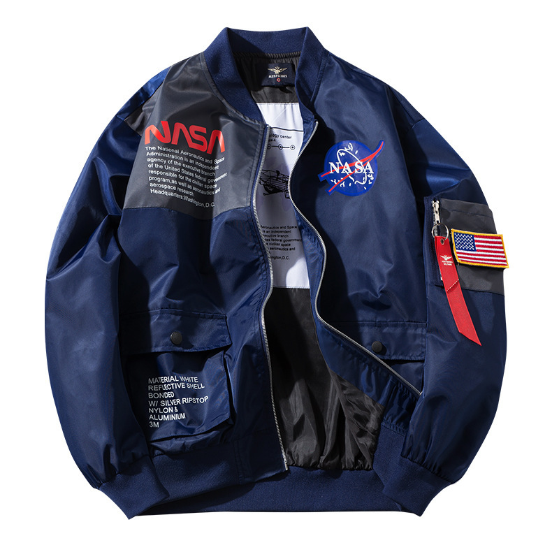 NASA Joint Men's Workwear Jacket Autumn Foreign Trade Jacket COUPLE'S Women's Plus-sized Loose-Fit Air Force Flight Jacket