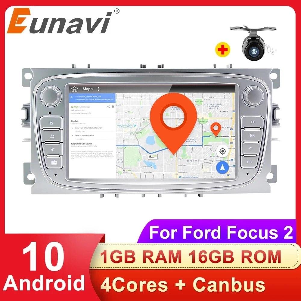 Eunavi 2 Din Auto Multimedia Player Radio GPS Auto Für Ford focus 2 Mondeo S-MAX C-MAX Galaxy Transit Tourneo Android 10 KEINE DVD