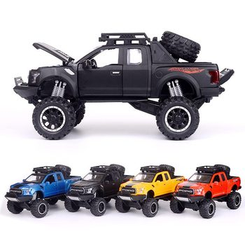2020 new 1:32 Ford Raptor F150 Alloy Diecast Car Model Toys Sound Light Toy Pickup Truck Pull Back Vehicle For Children image