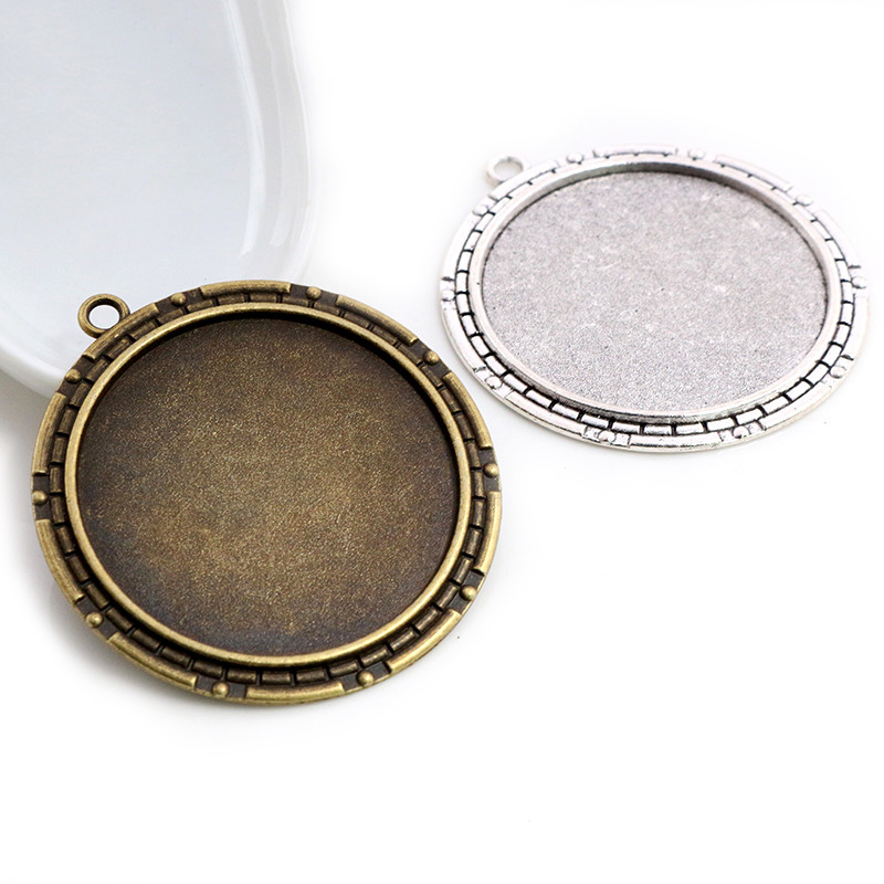 5pcs/lot 40mm Inner Size Antique Bronze And Silver Colors New Fashion Style Cabochon Base Setting Charms Pendant