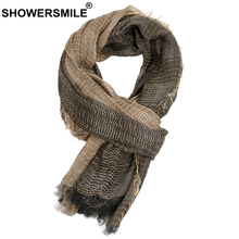 SHOWERSMILE Scarf Men Autumn Winter British Style Mens Scarves Patchwork Khaki Black Gray Navy Male Scarf 180cm*110cm