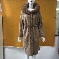 Cashmere Wool Blends Long Outerwear Belt Ladies Streetwear With Brown Fox Fur Trim