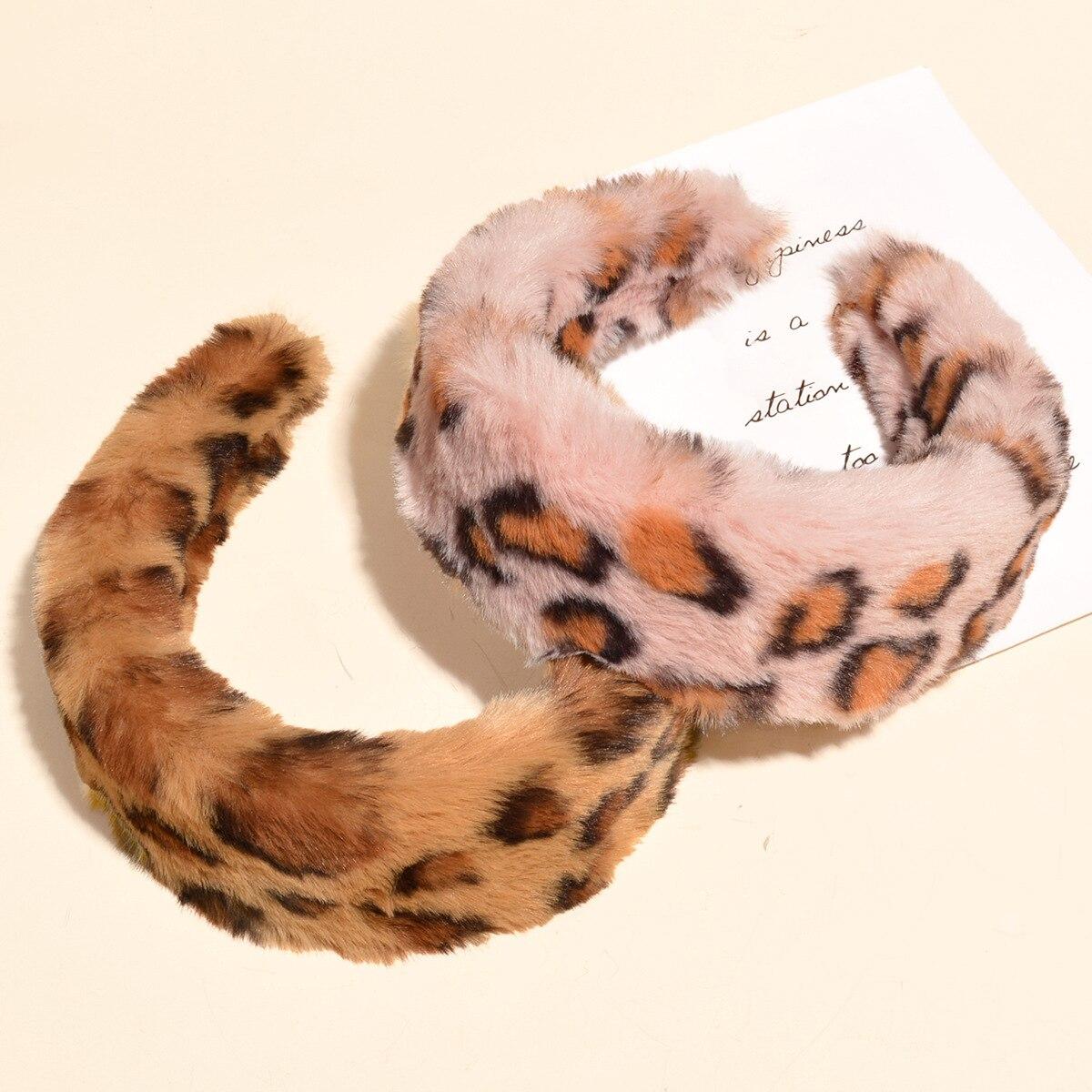 Зимняя плюшевая повязка на голову, женская теплая повязка для волос ручной работы, модная леопардовая повязка на голову для девочек, повсед...