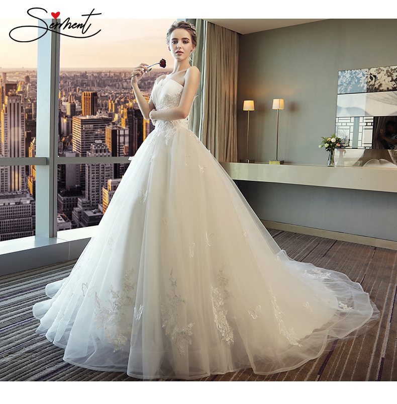 SERMENT Princess's Dream Luxury Lace Embroidery Spring Bride's Bract-shaped Strapless Sexy Elegant Long Railway Wedding Dress