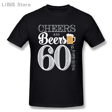 Cheers And Beers To 60 Years 60th Birthday 1960 T-shirt Men Plus Size Cotton Short Sleeve Clothes For Men
