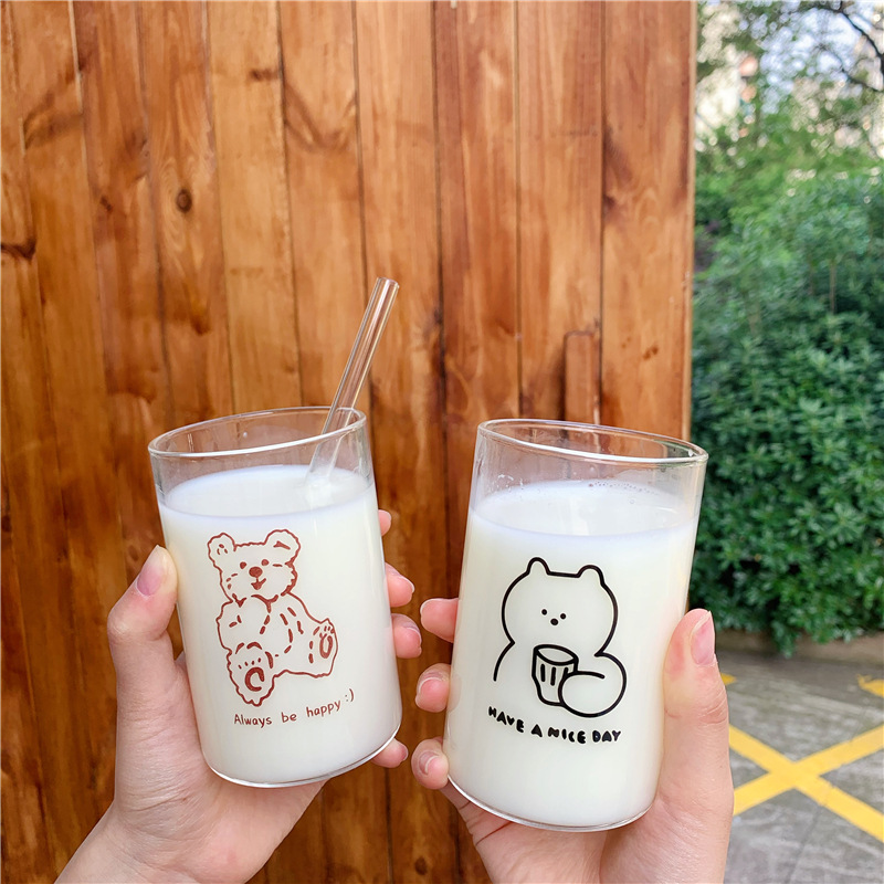 New Cute Brown Bear Glass Cup Beer Coffee Cup Handmade Tea glass Whiskey Beer Mug Glass Cups Drinkware Couple Cups With Straw