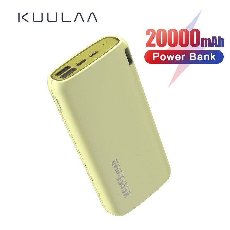 KUULAA banco de energía 20000 mAh portátil de carga Poverbank teléfono móvil cargador de batería externa Powerbank 20000 mAh para Xiaomi Mi