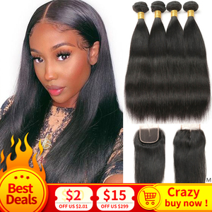 Image 1 - MIHAIR Straight Hair Bundles With Closure Indian Remy Human Hair Bundles With 4*4 Lace Closure Double Weft Bundles With Closure