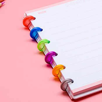 DISCBOUND DISCS 100pcs Ring Binder 18mm/24mm Colorful Binding Rings Made of ABS Material for Notebook CX19-004